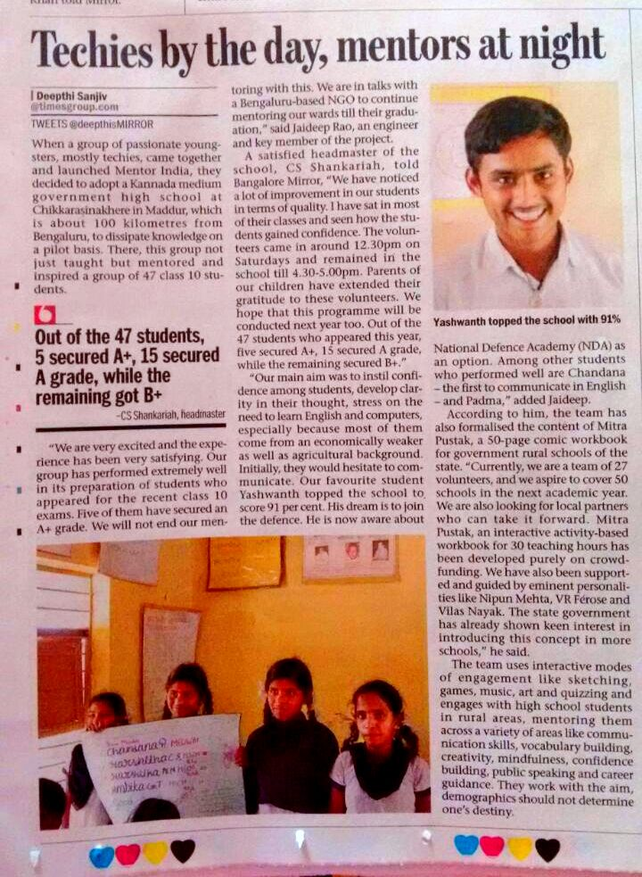 Bangalore Mirror features Mentor India's Success Story