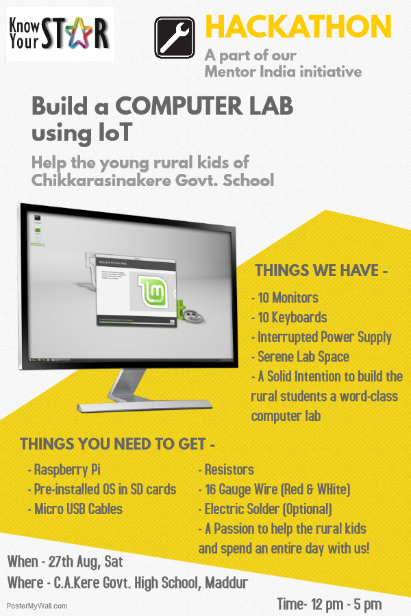 Mentor India Hackathon – Setting Up Computer Lab For Rural Students