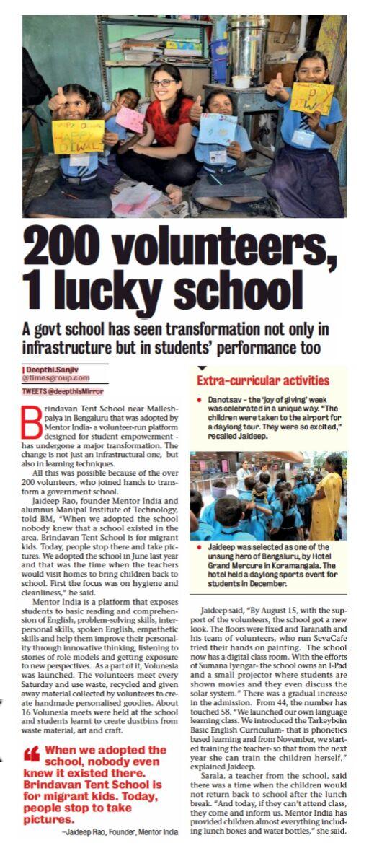 Brindavan Tent School Featured In Bangalore Mirror